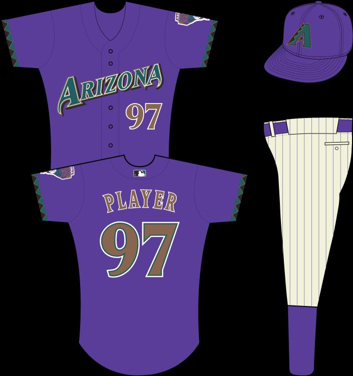 Arizona Diamondbacks Uniform Alternate Uniform (1999-2002) - Arizona in teal on purple uniform with teal, black and gold sleeve accents, snake patch on left sleeve (MLB batter logo added in 2000) SportsLogos.Net