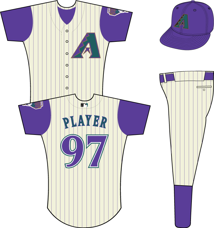 Arizona Diamondbacks Uniform Alternate Uniform (1999-2002) - Multi-colored A on sleeveless cream-colored uniform with purple pinstripes, snake patch on left sleeve (NOTE: MLB batter logo added in 2000). SportsLogos.Net