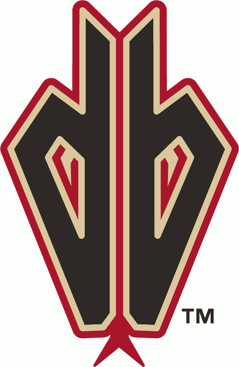 Arizona Diamondbacks Logo Alternate Logo (2008-2015) - Black lowercase D and B together, forming a snake head with sand and red outlines SportsLogos.Net