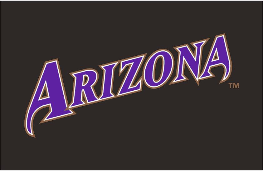 Arizona Diamondbacks Logo Jersey Logo (2001-2006) - Arizona slanted in purple with white and copper outlines on black, worn on the Arizona Diamondbacks black alternate uniform from 2001 to 2006 SportsLogos.Net