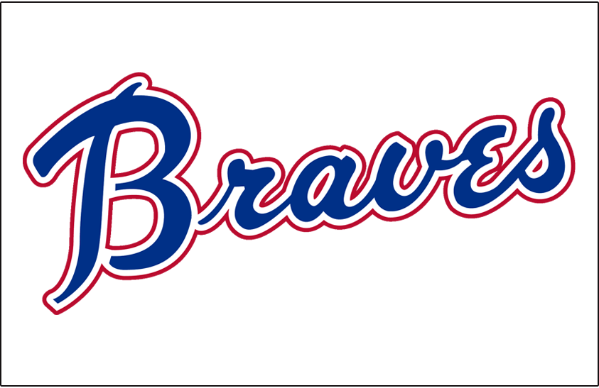 Atlanta Braves Logo Jersey Logo (1972-1973) - Braves scripted in blue and red on a white pullover, worn on the home jersey from 1972 and 1973 SportsLogos.Net