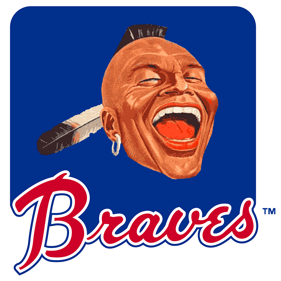 Atlanta Braves Logo Primary Logo (1966-1967) - For their first two seasons in Atlanta, the Braves used this blue rounded square with a photo of a Native American head with a mohawk and feather above the scripted Braves in red as their primary logo. SportsLogos.Net