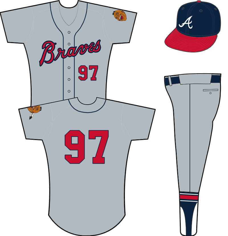 Atlanta Braves Uniform Road Uniform (1966-1967) - Atlanta Braves road uniform from 1966-1967. Grey uniform with Braves across the chest in red and blue, player number below script. Blue piping down the front of the jersey on either side of the buttons. Worn with navy blue cap with red bill. SportsLogos.Net