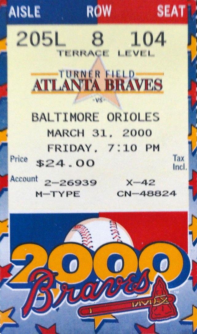 Atlanta Braves Ticket Stub Ticket Stub (2000) -  SportsLogos.Net