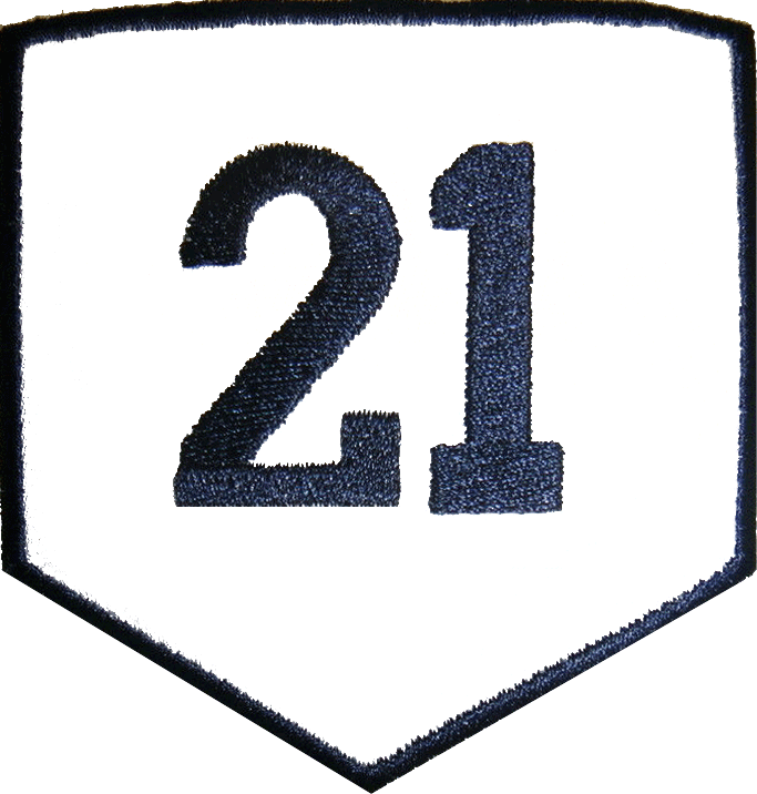 Atlanta Braves Logo Memorial Logo (2004) - Warren Spahn Memorial Patch. A white home plate with black trim and the number 21 on it in black, worn on the Atlanta Braves uniforms during the 2004 season in memory of former Braves pitcher Warren Spahn SportsLogos.Net