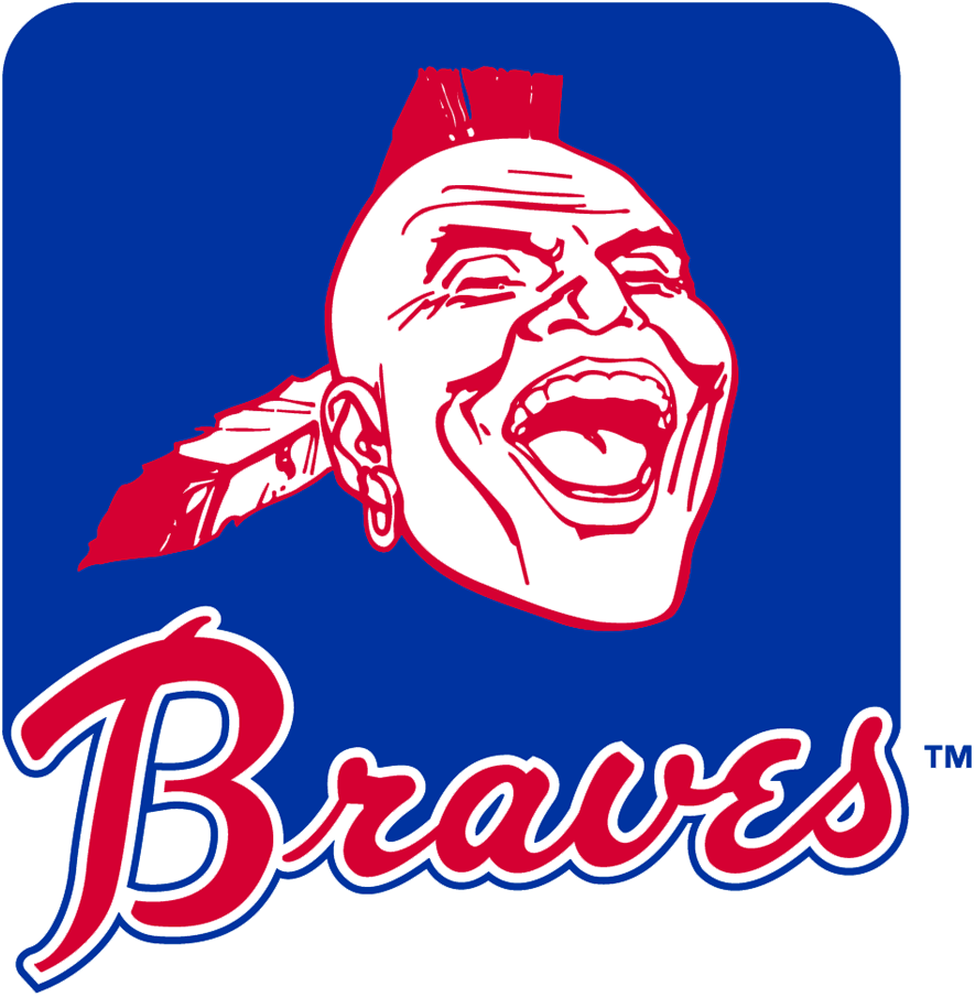 Atlanta Braves Logo Primary Logo (1968-1984) - Red and white Native American head with mohawk, feather, and earring above 1970s style Braves script in red and blue on a royal blue rounded rectangle. This logo was updated in 1985 to use the modern Braves wordmark logo at the base of the rectangle SportsLogos.Net