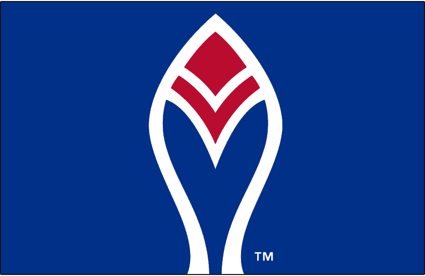 Atlanta Braves Logo Alternate Logo (1972-1979) - A blue and red feather outlined in white on blue, worn on the sleeves of the Atlanta Braves home jersey only from 1972 to 1975, and then on the sleeve of the road jersey only from 1976 to 1979. SportsLogos.Net