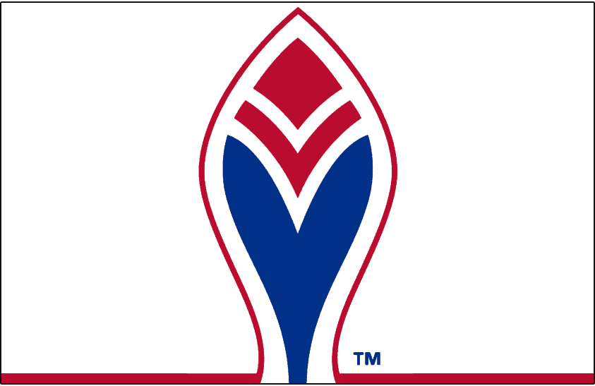 Atlanta Braves Logo Alternate Logo (1972-1975) - A blue and red feather outlined in red on white, worn on the sleeve of the Atlanta Braves road jersey only from 1972 to 1975. SportsLogos.Net