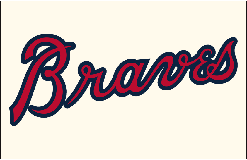 Atlanta Braves Logo Jersey Logo (2018-Pres) - Braves in scarlet with a navy outline on a cream-colored uniform, shade of blue darkened after 2017 season. SportsLogos.Net
