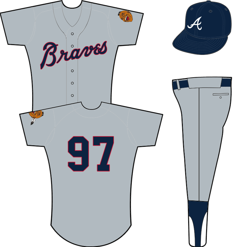 Atlanta Braves Uniform Road Uniform (1968-1971) - Atlanta Braves road uniform from 1968-1971. Grey uniform with Braves across the chest in blue and red, Native American logo on sleeve. Worn with all navy blue cap. SportsLogos.Net