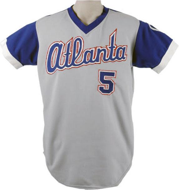 Atlanta Braves Game-Worn Jersey Photo Jersey Photo (1976-1979) - Game-worn Atlanta Braves road jersey, style used from 1976 to 1979 SportsLogos.Net