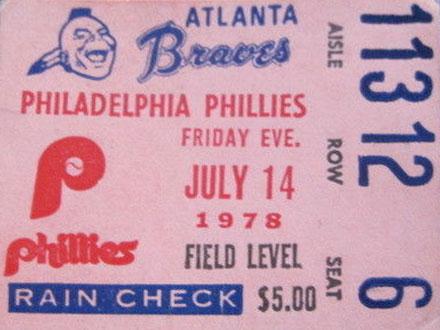 Atlanta Braves Ticket Stub Ticket Stub (1978) -  SportsLogos.Net
