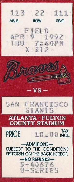 Atlanta Braves Ticket Stub Ticket Stub (1992) -  SportsLogos.Net