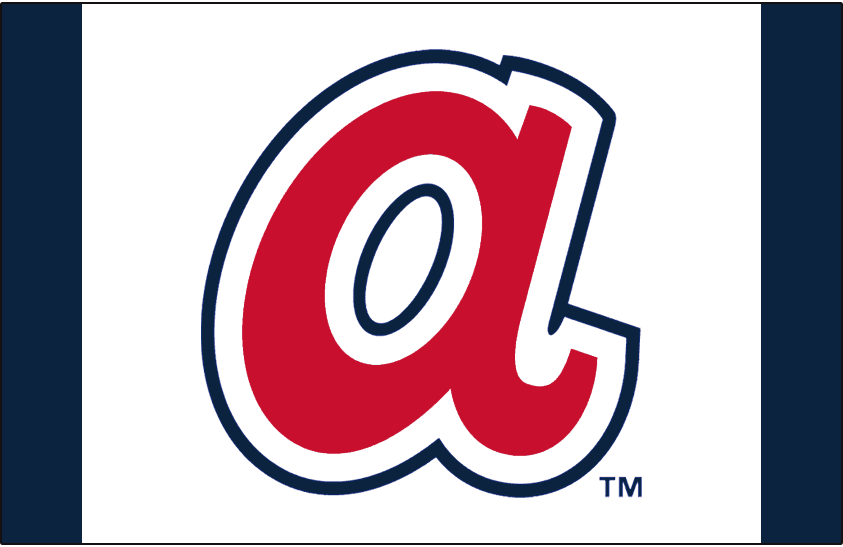 Atlanta Braves Logo Batting Practice Logo (2014-2016) - A lowercase red and navy blue A on a white and blue cap. Worn on the Atlanta Braves batting practice cap starting in 2014 SportsLogos.Net