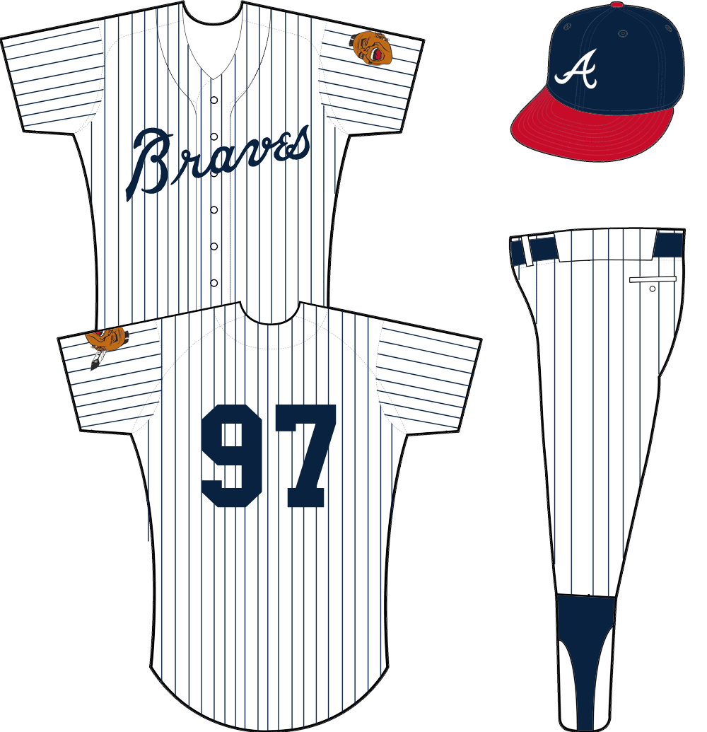 Atlanta Braves Uniform Home Uniform (1968-1969) - White uniform with blue pinstripes, Braves across the front in blue. Worn with a blue-and-red cap from 1968 to 1969. SportsLogos.Net