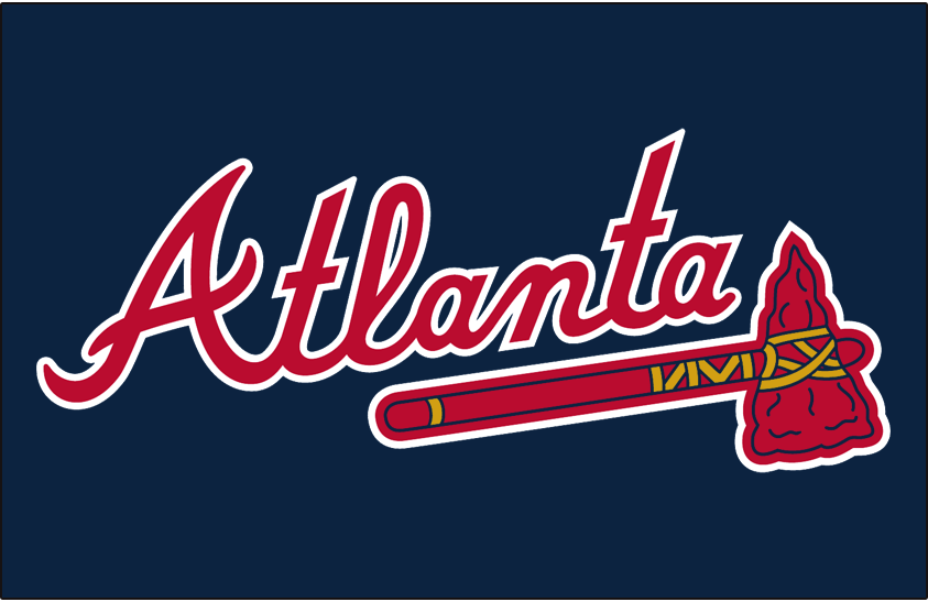 Atlanta Braves Logo Jersey Logo (2019-Pres) - Atlanta in red with white trim on navy blue jersey, worn on the front of the Braves road alternate jersey starting in 2019 SportsLogos.Net