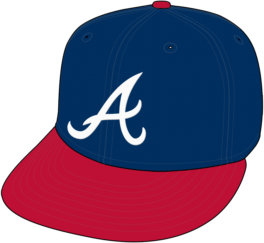 Atlanta Braves Cap Cap (1987-2017) - Home and road cap (1987-2008), Home Only (2009-2017), shade of blue darkened after 2017 season SportsLogos.Net