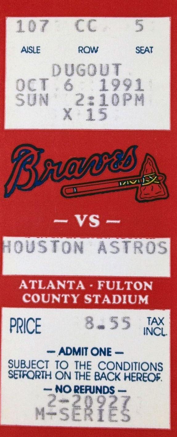 Atlanta Braves Ticket Stub Ticket Stub (1991) -  SportsLogos.Net
