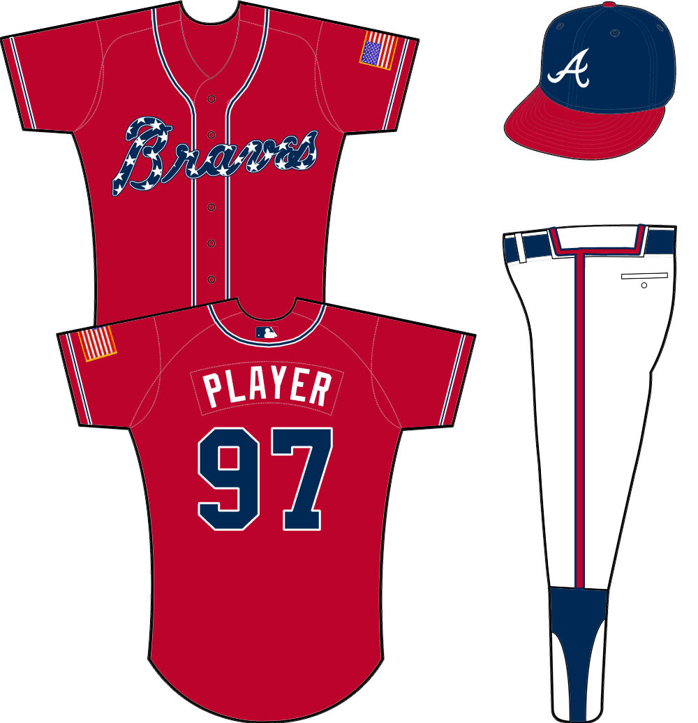 Atlanta Braves Uniform Alternate Uniform (2014-2018) - Red uniform with blue Braves wordmark with star pattern on front. Blue piping down either side of the buttons and sleeves, US flag patch on left sleeve. Worn as Atlanta Braves alternate uniform beginning in 2014 SportsLogos.Net