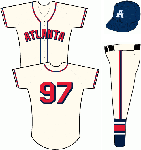 Atlanta Braves Uniform Special Event Uniform (2013) - Cream uniform with navy blue and red piping.  ATLANTA arched across the front in red sans serif letters with navy blue trim and drop shadow - same for player number on back of jersey.  Player names not worn.  Cap is navy blue with white A on front.  Pants feature a navy socks with white and red striping. SportsLogos.Net