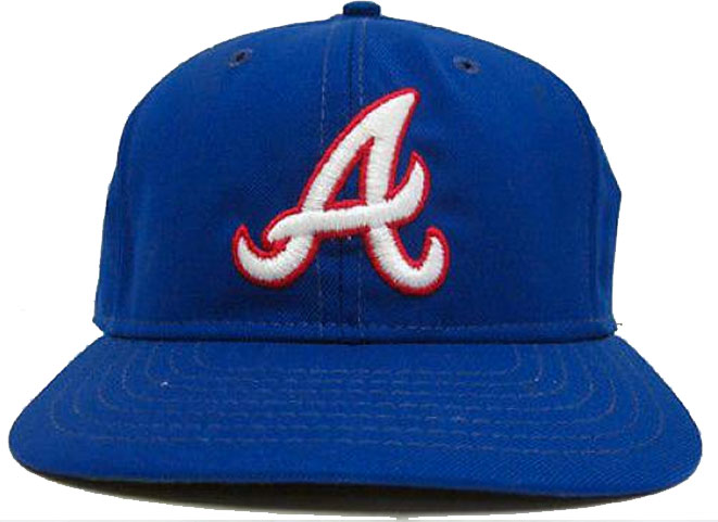 Atlanta Braves Game-Worn Cap Photo Cap Photo (1981-1985) - Game-worn Atlanta Braves home cap, style used from 1981 to 1985 SportsLogos.Net