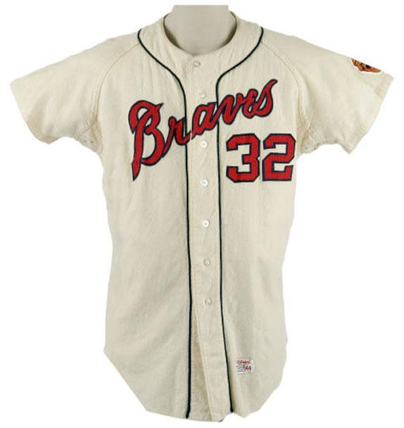 Atlanta Braves Game-Worn Jersey Photo Jersey Photo (1966-1967) - Game-worn Atlanta Braves home jersey, style used from 1966 to 1967 SportsLogos.Net