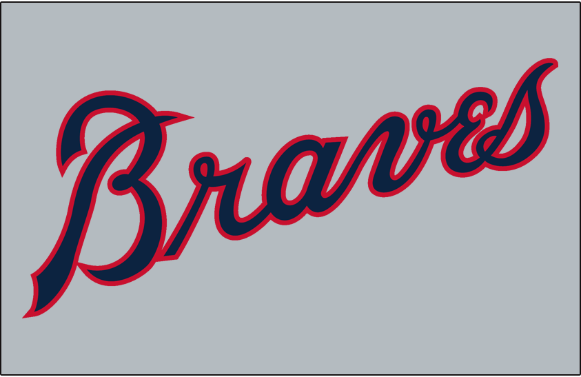 Atlanta Braves Logo Jersey Logo (1968-1971) - Braves in blue and red script on grey, worn on Atlanta Braves road uniform from 1968 to 1971 SportsLogos.Net