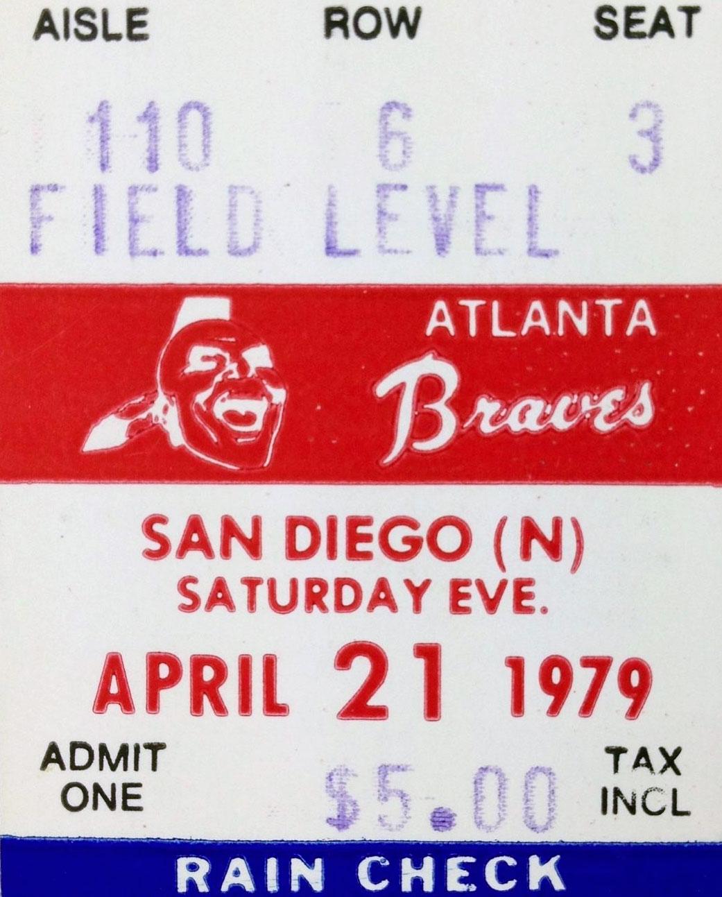 Atlanta Braves Ticket Stub Ticket Stub (1979) -  SportsLogos.Net