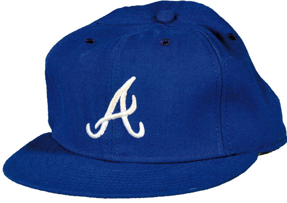 Atlanta Braves Game-Worn Cap Photo Cap Photo (1981-1986) - Game-worn Atlanta Braves road cap, style used from 1981 to 1986 SportsLogos.Net