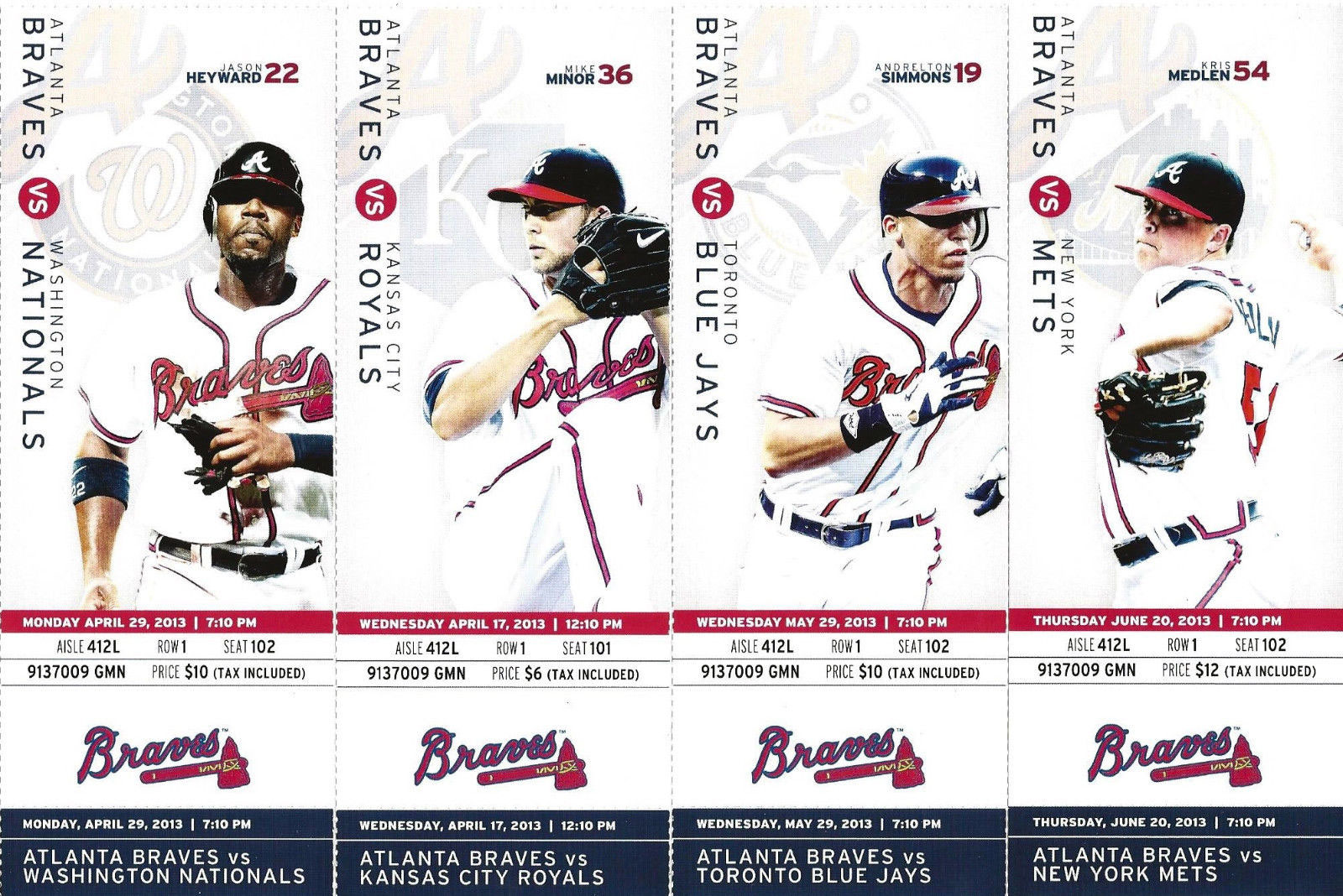 Atlanta Braves Ticket Stub Ticket Stub (2013) -  SportsLogos.Net