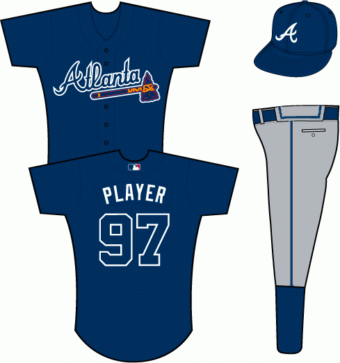Atlanta Braves Uniform Alternate Uniform (2013-2018) - Atlanta in navy with a white outline on a navy uniform, worn as Braves road alternate uniform starting in 2013. Jersey was also worn from 2008-2012 but the pants were modified to remove the red stripe for 2013. SportsLogos.Net
