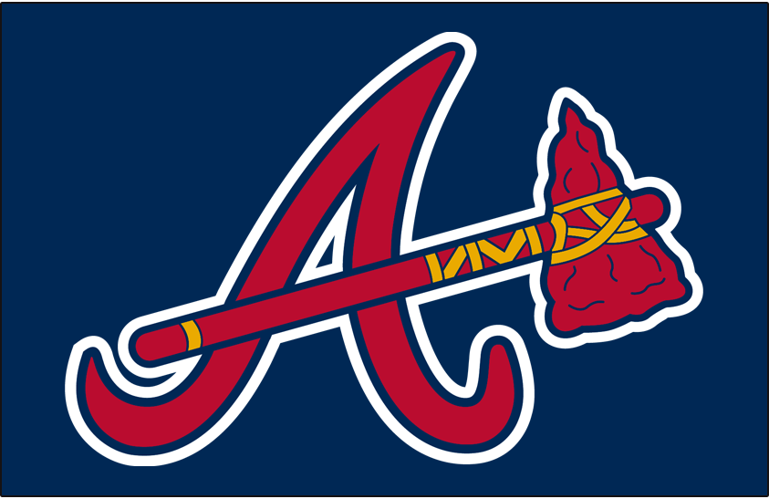 Atlanta Braves Logo Batting Practice Logo (2003-2006) - An A with a tomahawk going through it, worn originally as a BP cap from 2003 to 2006, promoted to regular season alternate cap from 2007-2017 SportsLogos.Net