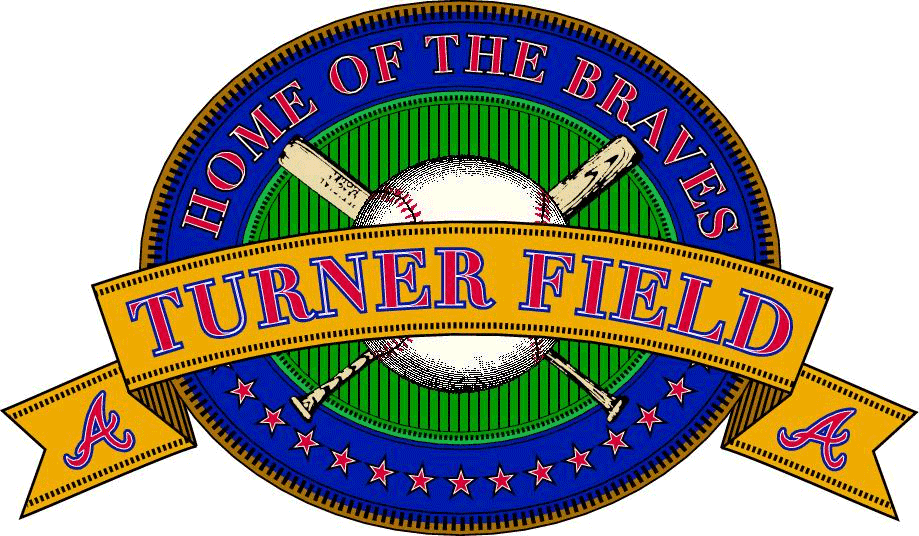 Atlanta Braves Logo Stadium Logo (1997-2016) - Turner Field Logo - A blue and green oval with TURNER FIELD scrawled across a yellow banner in front of crossed baseball bats and a ball, Braves