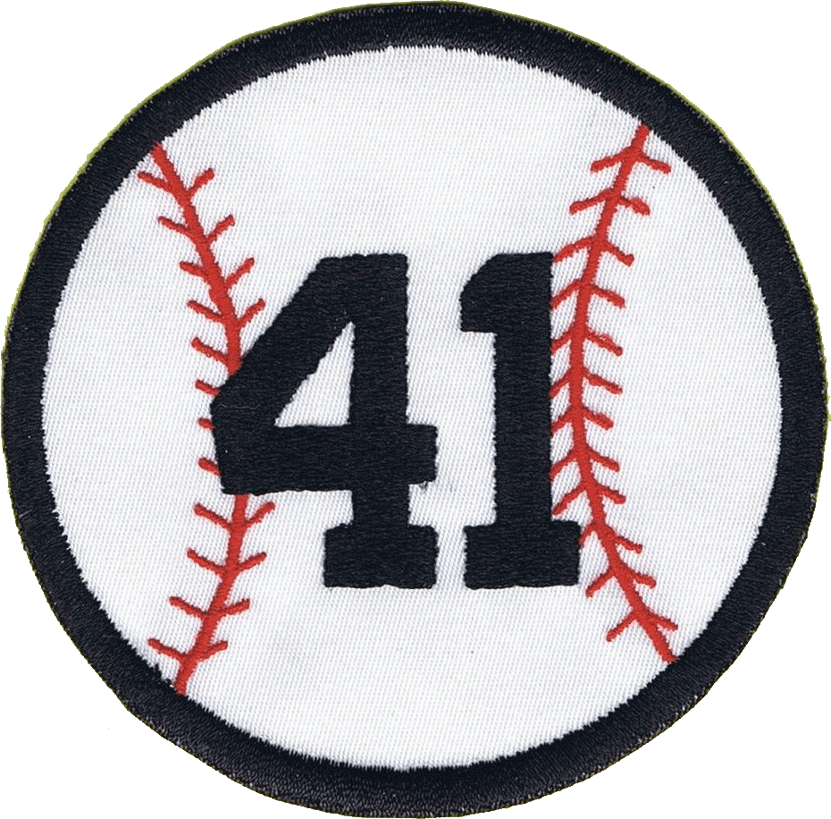 Atlanta Braves Logo Memorial Logo (2001) - Eddie Mathews Memorial Patch. A baseball outlined in black with red stitching, Mathews' number 41 in the middle in black block numbering. Worn by the Atlanta Braves as a patch on all their jerseys during the 2001 season in memory of former Braves' player Eddie Mathews. SportsLogos.Net