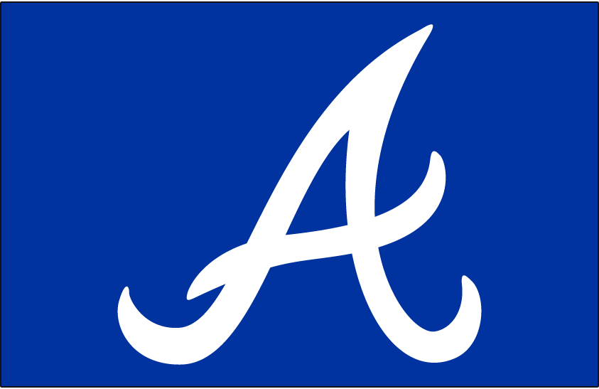 Atlanta Braves Logo Cap Logo (1981-1986) - White A on royal blue, worn on the Atlanta Braves road cap only from 1981 through 1985, in 1986 this was worn on both the home and road cap before being retired prior to the 1987 season. This same logo was also worn, but on a darker blue cap, from 1966-71 and again from 1987 to present day. SportsLogos.Net