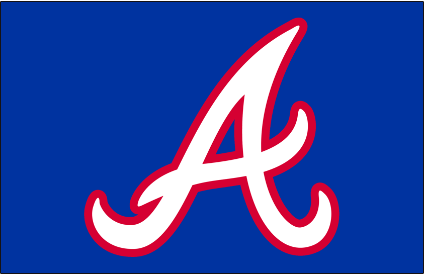 Atlanta Braves Logo Cap Logo (1981-1984) - White A on royal blue with a red outline, worn on the Atlanta Braves home cap only from 1981 through 1984. In 1985 the Braves dropped this cap and wore their road cap of the era as both home and road caps. This same logo on a darker blue cap without the red outline was also worn from 1966-1971, and again from 1987 to present day. SportsLogos.Net