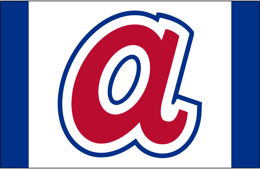 Atlanta Braves Logo Cap Logo (1972-1980) - Lower case A in red with white and blue outline on white SportsLogos.Net