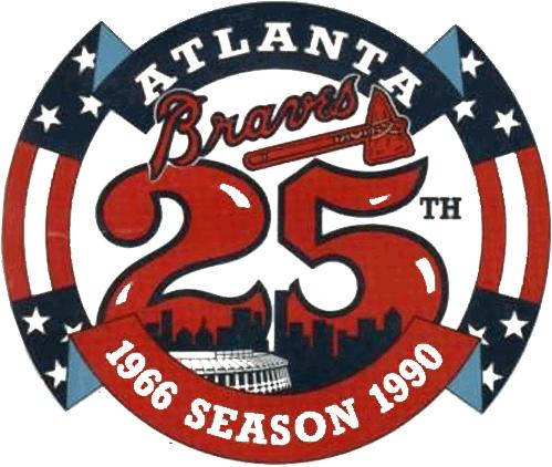 Atlanta Braves Logo Anniversary Logo (1990) - Atlanta Braves 25th Season SportsLogos.Net