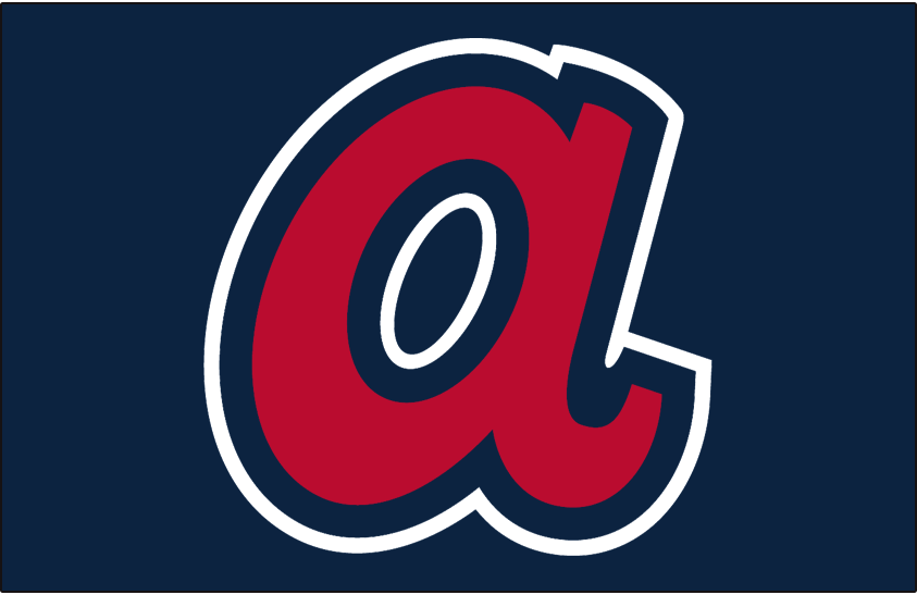 Atlanta Braves Logo Batting Practice Logo (2018-Pres) - The scripted red A, originally seen on the Braves caps in the 1970s now in the modern Braves colour scheme. Worn on Atlanta's BP and Spring caps starting in 2018 SportsLogos.Net