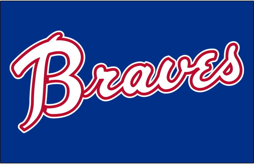 Atlanta Braves Logo Jersey Logo (1972-1973) - Braves scripted in white and red on a blue pullover, worn on the road jersey in 1972 and 1973 SportsLogos.Net