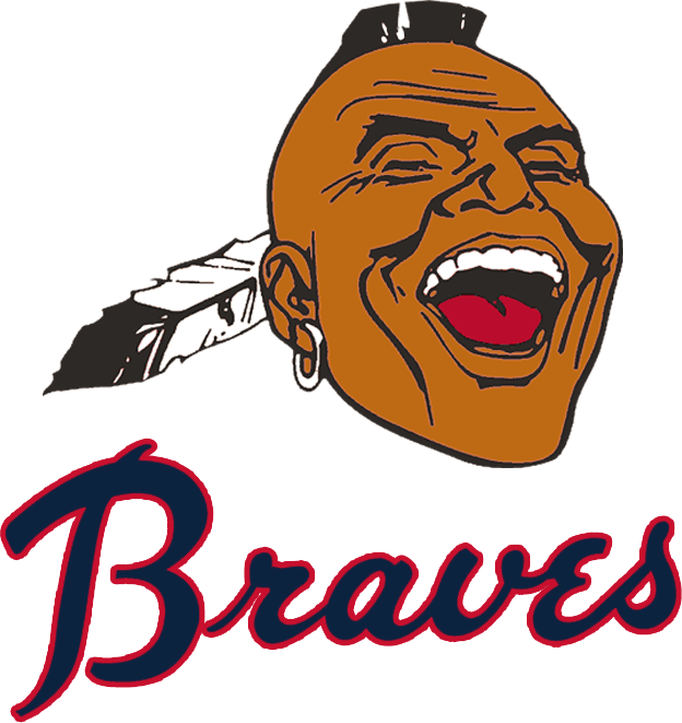 Atlanta Braves Logo Alternate Logo (1968-1971) - Native American head with mohawk, earring, and feather above Braves script in navy blue and red SportsLogos.Net