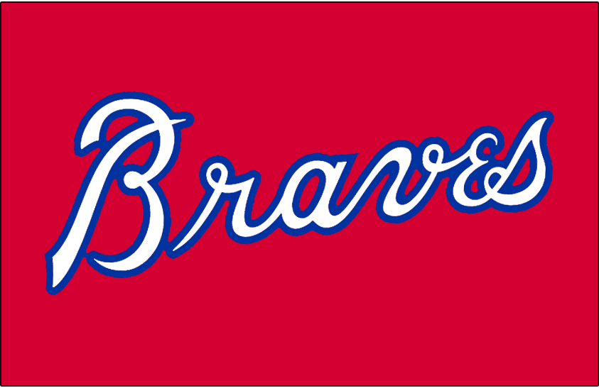 Atlanta Braves Logo Batting Practice Logo (1979-1980) - Braves in white with blue outline on red, worn on the Atlanta Braves batting practice jersey from 1979 through 1980 SportsLogos.Net