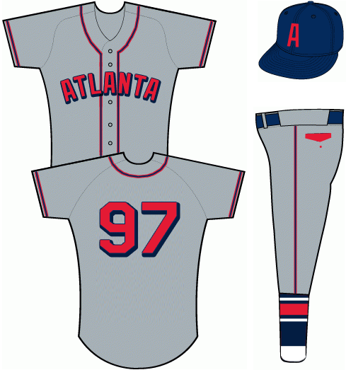 Atlanta Braves Uniform Special Event Uniform (2013) - Grey uniform with navy blue and red piping.  ATLANTA arched across the front in red sans serif letters with navy blue trim and drop shadow - same for player number on back of jersey.  Player names not worn.  Cap is navy blue with red A on front.  Pants feature a red pocket flap and navy socks with white and red striping. SportsLogos.Net