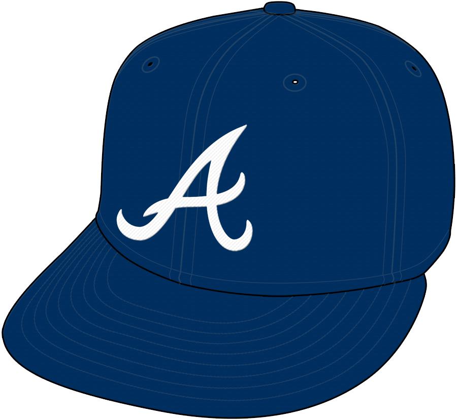 Atlanta Braves Cap Cap (2009-2017) - Road Cap, shade of blue darkened after 2017 season SportsLogos.Net