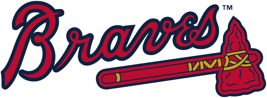 Atlanta Braves Logo Primary Logo (2018-Pres) - A red tomahawk with gold and blue details below Braves scripted in blue and red. The Braves darkened the shade of blue and gold on this logo prior to the 2018 season. SportsLogos.Net