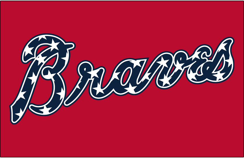 Atlanta Braves Logo Jersey Logo (2018) - Braves in navy blue with white and navy blue outlines, a star pattern similar to that used on the U.S. flag is within the Braves script. Worn on the Atlanta Braves red alternate military appreciation jerseys beginning in the 2014 season, shade of blue darkened after 2017 season. SportsLogos.Net