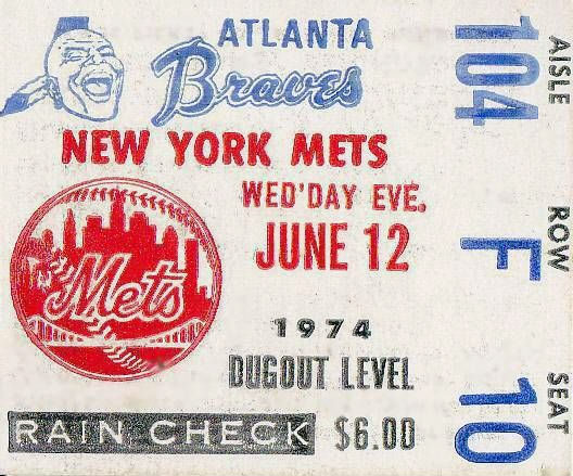 Atlanta Braves Ticket Stub Ticket Stub (1974) -  SportsLogos.Net