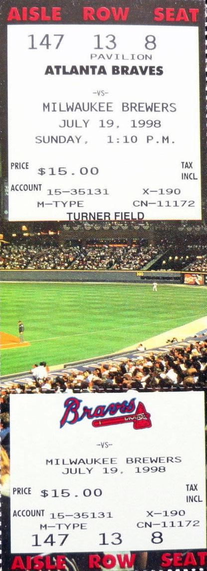 Atlanta Braves Ticket Stub Ticket Stub (1998) -  SportsLogos.Net