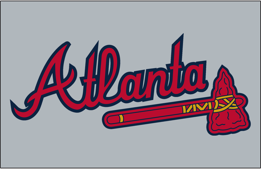 Atlanta Braves Logo Jersey Logo (2018) - 'Atlanta' in scarlet with a navy outline above a scarlet tomahawk on grey, worn on the Atlanta Braves road jersey from 1987 to 2018, shade of blue darkened after 2017 season, Atlanta script tweaked after 2018 SportsLogos.Net