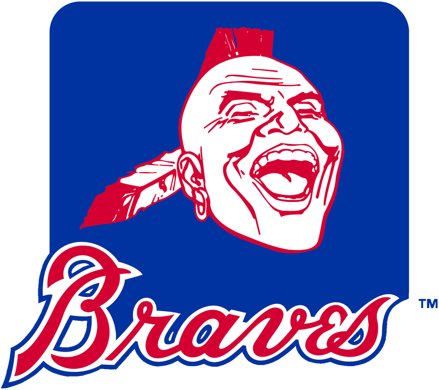 Atlanta Braves Logo Primary Logo (1985-1986) - Native American head with mohawk, earring, and feather on a royal blue rounded rectangle and modern-era Braves script below in red and blue. Wordmark logo was updated for this version, in 1987 this logo was updated to reflect the new colour scheme of navy blue and red. SportsLogos.Net